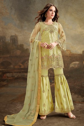 Party Wear Pista Silk Net Fabric Beads Work And Lace Work Designer Plazzo Suit And Dupatta