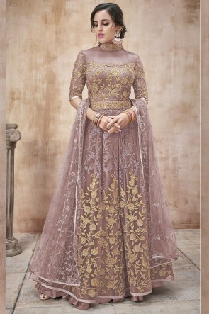Net Fabric Beads Work And Lace Work Wine Anarkali Suit And Silk Satin Bottom