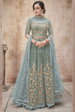 Party Wear Embroidery And Beads Work Sky Blue Net Fabric Abaya Style Anarkali Suit And Dupatta