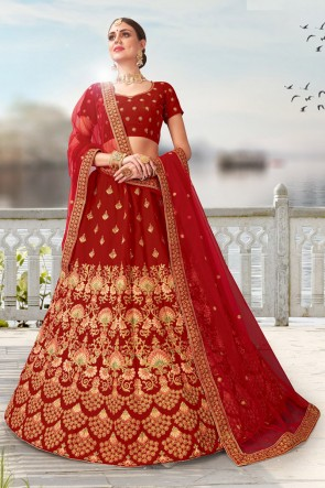 Lace And Beads Work Velvet Fabric Designer Red Bridal Lehenga Choli With Net Dupatta