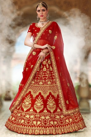 Beads Work And Embroidered Red Velvet Fabric Bridal Lehenga Choli With Net Dupatta