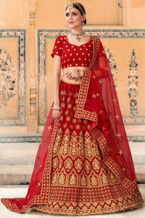 Red Lace And Beads Work Velvet Fabric Bridal Lehenga Choli With Net Dupatta