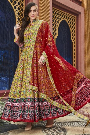 Printed And Hand Work Yellow Silk Fabric Abaya Style Anarkali Suit With Net Dupatta