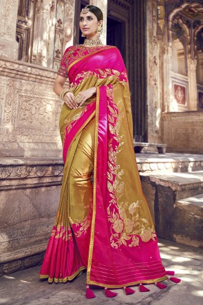 Lace Work And Embroidered Golden And Pink Banarasi Silk Fabric Saree And Blouse