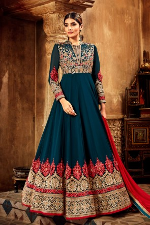 Blue Georgette And Velvet Embroidered Abaya Style Anarkali Suit With Net Dupatta