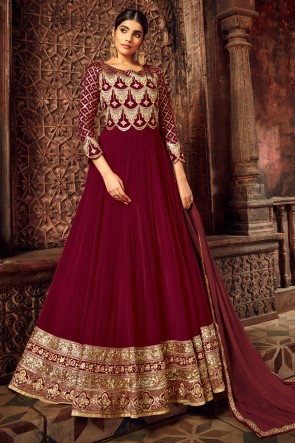 Maroon Georgette And Velvet Embroidered Abaya Style Anarkali Suit With Net Dupatta