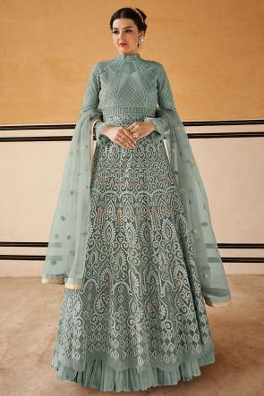 Charming Grey Embroidered Net Anarkali Suit With Chiffon Dupatta