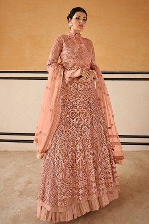 Stunning Embroidered Peach Net Anarkali Suit With Chiffon Dupatta