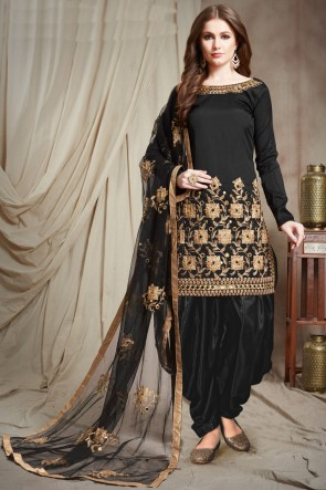 Black Embroidered Faux Georgette Salwar Kameez With Chiffon Dupatta