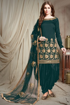 Marvelous Teal Embroidered Faux Georgette Salwar Kameez With Chiffon Dupatta