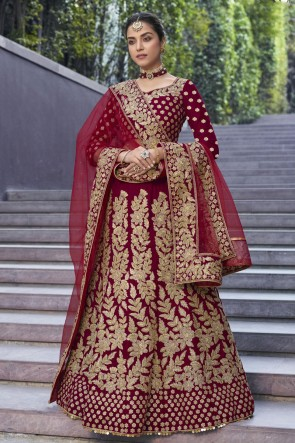 Red Velvet Fabric Embroidered And Thread Work Lehenga Choli With Net Dupatta