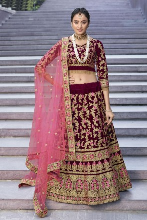 Heavy Designer Red Embroidered And Thread Work Velvet Lehenga Choli With Net Dupatta