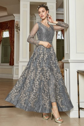 Silver Taffeta Net Embroidery And Lace Work Abaya Style Anarkali Suit With Net Dupatta