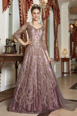 Pink Taffeta Embroidery And Lace Work Net Abaya Style Anarkali Suit With Net Dupatta