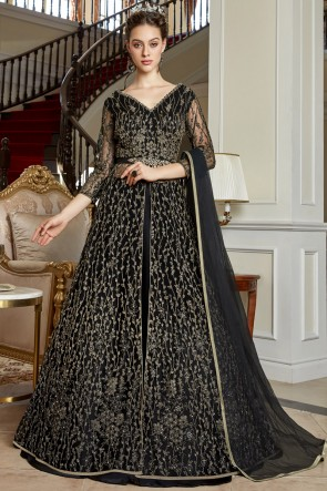 Embroidery And Lace Work Net Black Chanderi Fabric Anarkali Suit With Net Dupatta