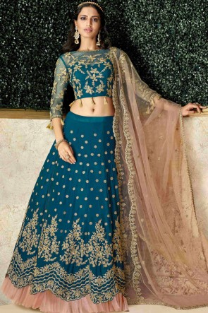 Delightful Blue Satin And Silk Stone Work And Embroidred Lehenga Choli And Dupatta