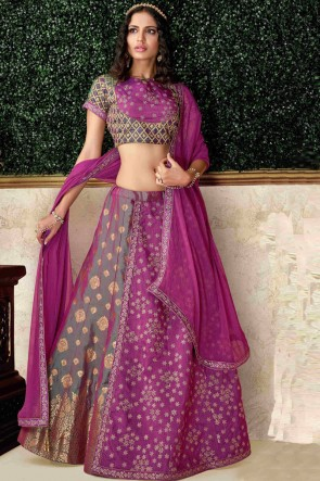 Dazzling Silk Magenta Stone Work And Embroidred Lehenga Choli And Dupatta