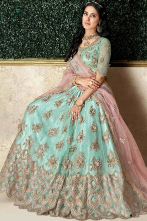 Heavy Designer Sea Green Stone Work And Embroidred Tapeta And Silk Lehenga Choli And Dupatta