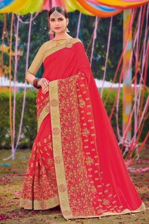 Pink Silk And Satin Fabric Weaving Work And Embroidered Designer Saree And Blouse