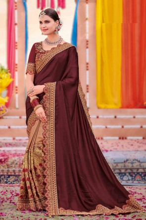 Silk And Satin Fabric Brown And Chikoo Weaving Work And Embroidered Designer Saree And Blouse