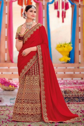 Weaving Work And Embroidered Red Silk And Satin Fabric Saree And Blouse