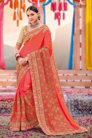Peach Silk And Satin Fabric Weaving Work And Embroidered Designer Saree And Blouse
