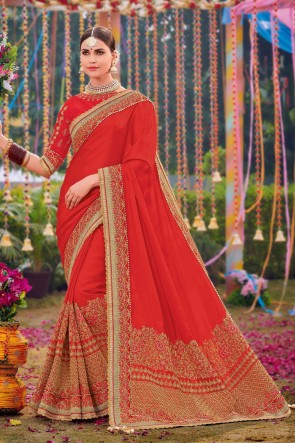 Silk And Satin Fabric Red Weaving Work And Embroidered Designer Saree And Blouse
