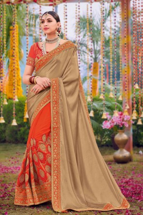 Silk And Satin Fabric Weaving Work And Embroidered Designer Orange And Chikoo Lovely Saree And Blouse