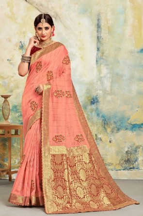 Silk Fabric Jacquard Work Designer Baby Pink Lovely Saree And Blouse