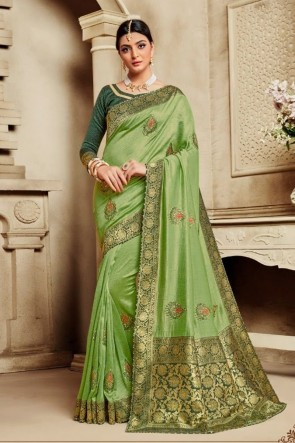 Light Green Silk Fabric Weaving Work And Jacquard Work Saree And Blouse