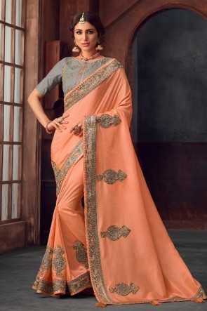 Silk Fabric Stone Work and Embroidered Designer Peach Lovely Saree And Blouse