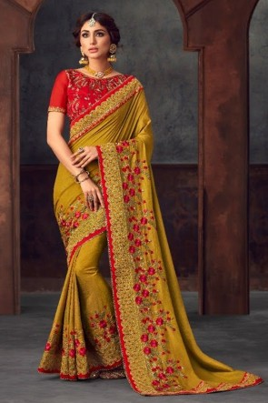 Silk Fabric Stone Work and Embroidered Designer Yellow Lovely Saree And Blouse