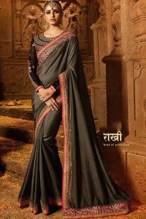 Stylish Grey Embroidery Work Bridesmaid Silk Saree