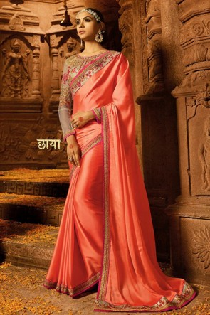Engagement Wear Gorgeous Peach Embroidery Work Silk Saree