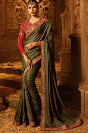 Classic Green Wedding Wear Silk Saree for Bridesmaid