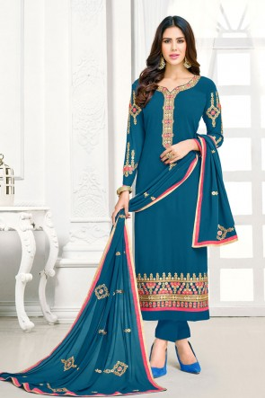 Charming Teal Georgette Embroidered Salwar Suit With Nazmin Dupatta