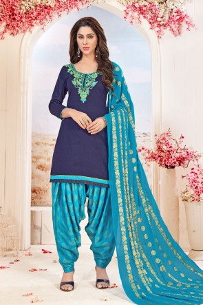 Excellent Navy Blue Cotton Embroidered Patiala Salwar Suit With Jacquard Dupatta