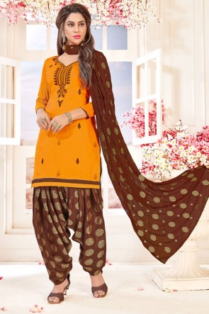 Beautiful Orange Cotton Embroidered Patiala Salwar Suit With Jacquard Dupatta