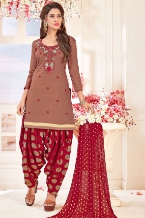 Lovely Brown Cotton Embroidered Patiala Salwar Suit With Jacquard Dupatta