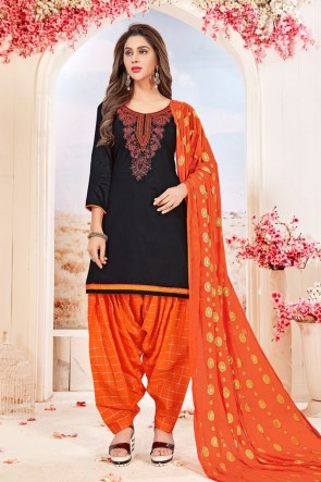 Supreme Black Cotton Embroidered Patiala Salwar Suit With Jacquard Dupatta