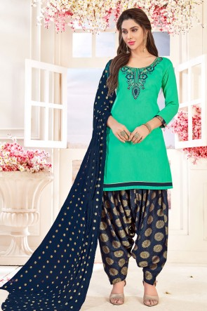Gorgeous Turquoise Cotton Embroidered Patiala Salwar Suit With Jacquard Dupatta