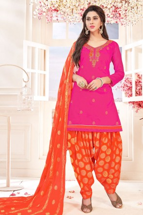 Ultimate Pink Cotton Embroidered Patiala Salwar Suit With Jacquard Dupatta