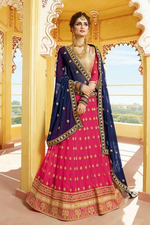 Pretty Pink Georgette Embroidered Designer Lehenga Choli With Nazmin Dupatta