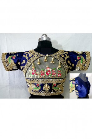 Beautiful Blue Silk Handwork Blouse