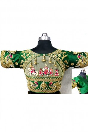 Pretty Green Silk Handwork Blouse