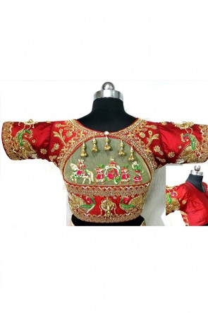 Excellent Red Silk Handwork Blouse