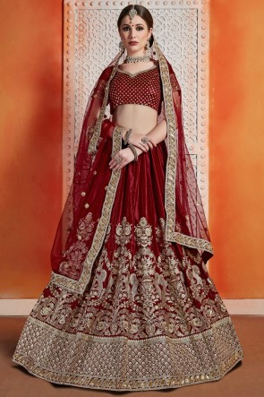 Stunning Magenta Velvet Sequins Work And Zari Work Lehenga Choli WIth Net Dupatta
