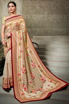 Excellent Cream Printed Silk Saree And Blouse