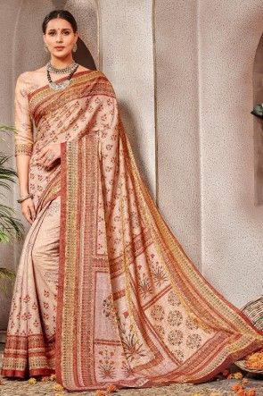 Delightful Pink Printed Silk Saree And Blouse