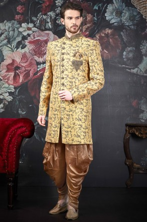 Embroidered Yellow Jacquard Silk Brocade Designer Indo Western With Art Silk Bottom